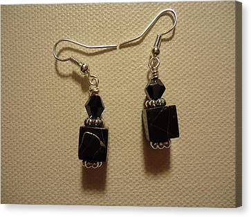 Black Cube Drop Earrings Canvas Print by Jenna Green