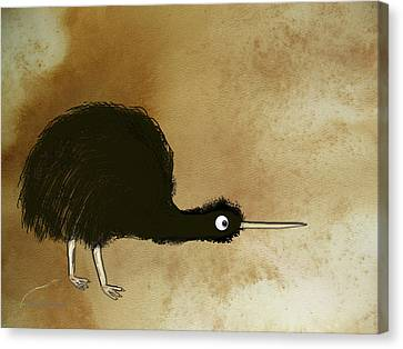 Black Kiwi Canvas Print by Asok Mukhopadhyay