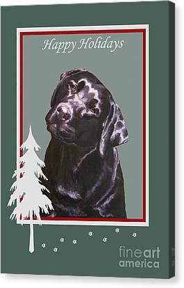 Black Labrador Portrait Christmas Canvas Print
