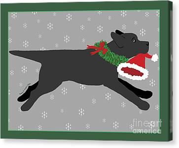 Black Labrador Steals Santa's Hat Canvas Print