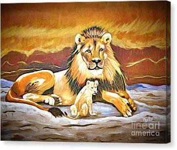 Black Maned Lion And Cub Canvas Print by Phyllis Kaltenbach