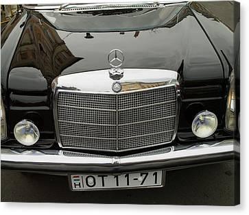 Black Mercedes Logo Canvas Print by Odon Czintos