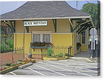 Canvas Print featuring the photograph Black Mountain Train Depot by Lou Belcher
