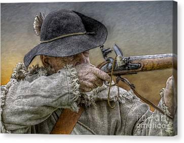 Colonial Man Canvas Print - Black Powder Rifle by Randy Steele
