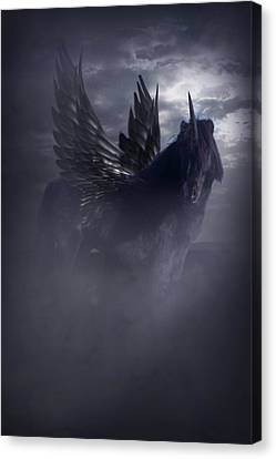 Canvas Print featuring the photograph Black Unicorn Pegasus Fantasy Artwork by Ethiriel  Photography