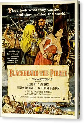 Blackbeard The Pirate, Poster Art Canvas Print by Everett