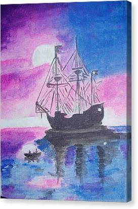 Canvas Print featuring the painting Blackpearl by Audrey Pollitt