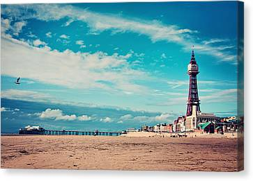 Blackpool Tower And Pier Canvas Print by Michelle McMahon