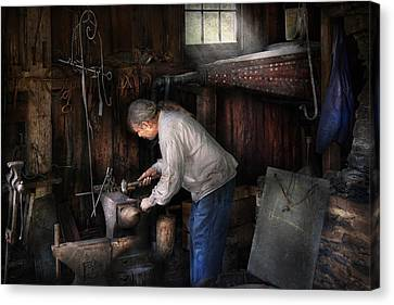 Blacksmith - Tinkering With Metal  Canvas Print by Mike Savad