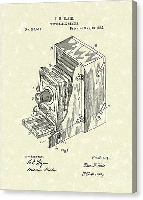 Camera Canvas Print - Blair Photographic Camera 1887 Patent Art by Prior Art Design