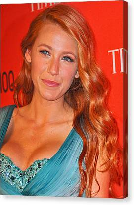 Blake Lively At Arrivals For Time 100 Canvas Print by Everett