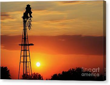 Blazing Orange Sky With Windmill Silhouette Canvas Print