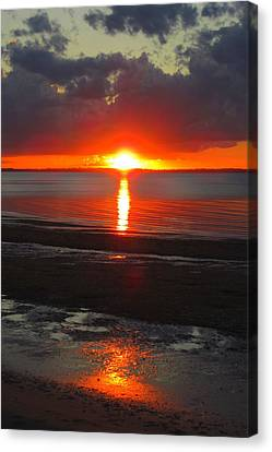Canvas Print featuring the photograph Blazing Sunset by Ramona Johnston