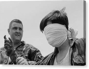 Blindfolded Viet Cong Pow. Us Marine Canvas Print by Everett