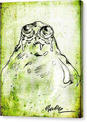 Canvas Print featuring the drawing Blob Monster by Nada Meeks