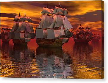 Blockade At Yorktown Canvas Print by Claude McCoy