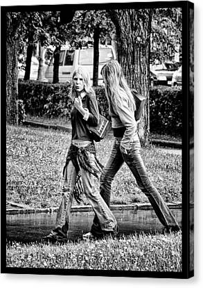 Canvas Print featuring the photograph Blond Girls In Russian Park by Rick Bragan