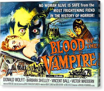 Blood Of The Vampire, Girl On Table Canvas Print by Everett