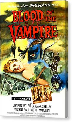 Blood Of The Vampire, Woman On Table Canvas Print by Everett