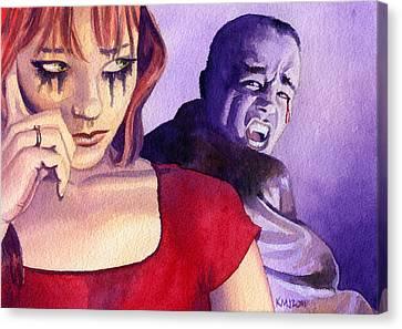 Horror Canvas Print - Bloody Tears by Ken Meyer