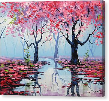 Blossom Trees Reflections Canvas Print by Graham Gercken