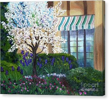Historic House Canvas Print - Blossoming Tree At Ainsley House by Laura Iverson