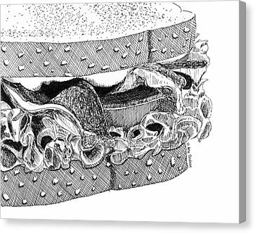 Canvas Print featuring the drawing Blt Sandwich by Ana Tirolese