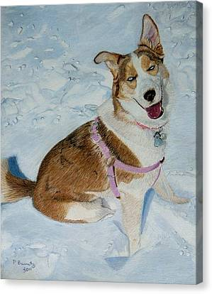 Blue - Siberian Husky Dog Painting Canvas Print by Patricia Barmatz