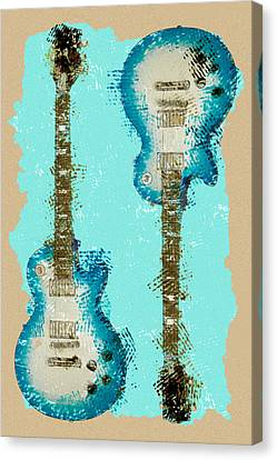 Blue Abstract Guitars Canvas Print by David G Paul