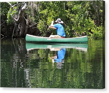 Blue Amongst The Greens - Canoeing On The St. Marks Canvas Print by Marilyn Holkham