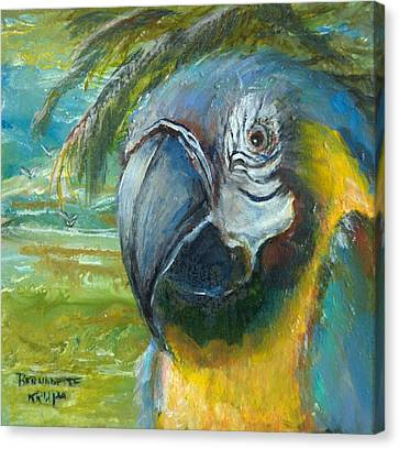 Blue And Gold Macaw By The Sea Canvas Print