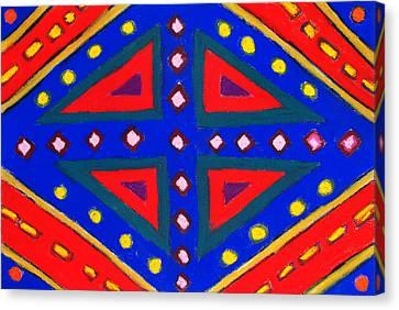 Blue And Red Ornamental Pastel Diamond Pattern Canvas Print by Kazuya Akimoto