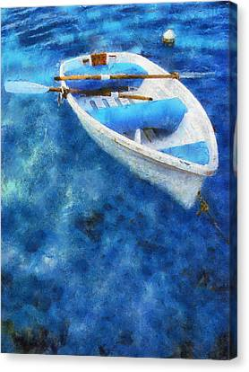 Blue And White. Lonely Boat. Impressionism Canvas Print by Jenny Rainbow