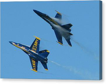 Blue Angels Break Canvas Print by Samuel Sheats