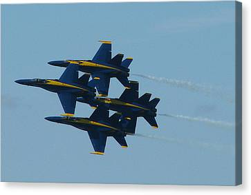 Canvas Print featuring the photograph Blue Angels Diamond From Right by Samuel Sheats