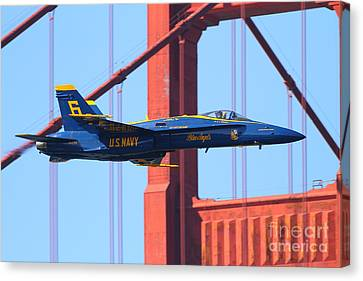 Canvas Print featuring the photograph Blue Angels F-18 Super Hornet . 7d8055 by Wingsdomain Art and Photography