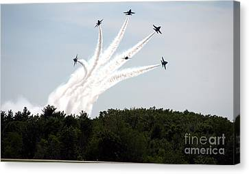 Blue Angels Star Burst Canvas Print by Kevin Fortier