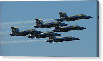 Canvas Print featuring the photograph Blue Angels Take 6 by Samuel Sheats