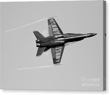 Blue Angels With Wing Vapor . Black And White Photo Canvas Print by Wingsdomain Art and Photography