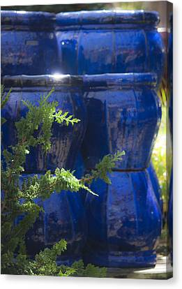 Ceramic Glazes Canvas Print - Blue Background by Teresa Mucha