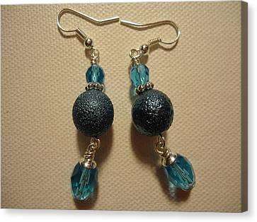 Blue Ball Sparkle Earrings Canvas Print by Jenna Green