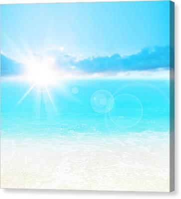 Blue Beach Background Canvas Print by Anna Om