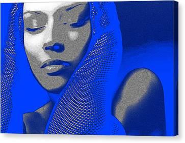 Earrings Canvas Print - Blue Beauty by Naxart Studio