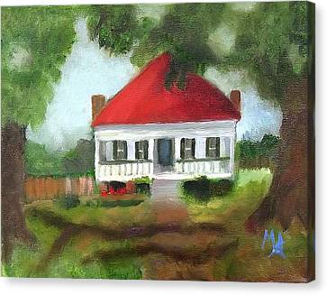 Canvas Print featuring the painting Blue Berry Farm In Clinton by Margaret Harmon