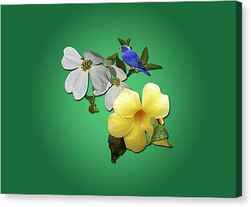 Blue Bird And Blooms Canvas Print by Larry Bishop