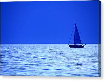 Canvas Print featuring the photograph Blue Boat by Coby Cooper