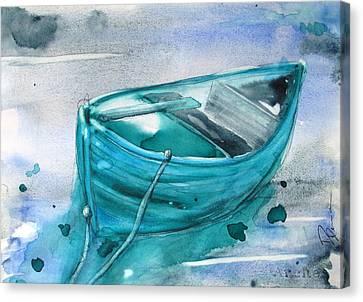 Blue Boat Canvas Print by Dawn Derman