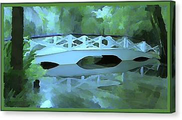 Blue Bridge In Magnolia Canvas Print by Mindy Newman
