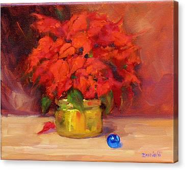 Poinsettias Canvas Print - Blue Bulb by Laura Lee Zanghetti