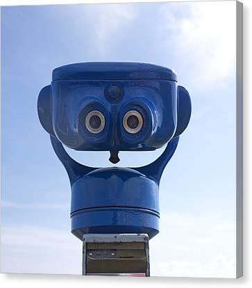 Blue Coin-operated Binoculars Canvas Print by Bernard Jaubert